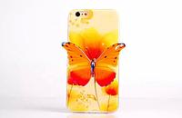 """Силиконовый желтый чехол """"Бабочка"""" 3D для Iphone 6/6S"""
