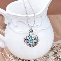 Подвеска Сфера, Бутылка, Колба, Пузырь, Под благовония, Открывается, Античное серебро 16 мм Цепочка шар 61 см
