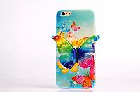"""Силиконовый голубой чехол """"Бабочка"""" 3D для Iphone 6/6S"""