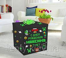 Коробка-сюрприз велика 70х70см (Манйкрафт + Амонг Ас + Бравл Старс чорна)+наклейки і декор