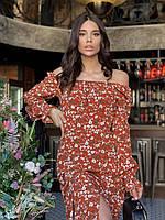 Платье женское 4379 (42 44 46) (цвета: горчица , кирпич , олива , чёрный) СП