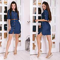 Платье женское джинсовое 8206 (42-44, 44-46, 48-50, 52-54, 56-58) (цвета: темный, светлый) СП