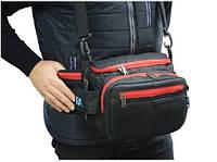 Поясная сумка спиннингиста, сумка рыбацкая R 97 черная