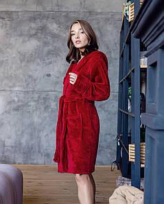 Халат женский махровый короткий Бордовый