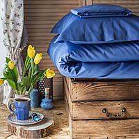 Постельное белье полуторное Комильфо люкс-сатин 160х220 голубое KT0017