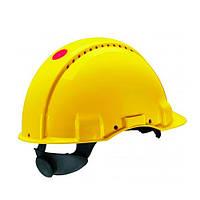 Каска захисна (3М) G3001DUV-GU без вентиляції, жовта, шкіряна