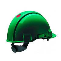 Каска захисна (3М) G3000DUV-GP з вентиляцією, зелена, шкіряна