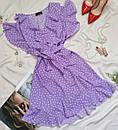 Жіноча сукня в горошок з рюшами лаванда, фото 5