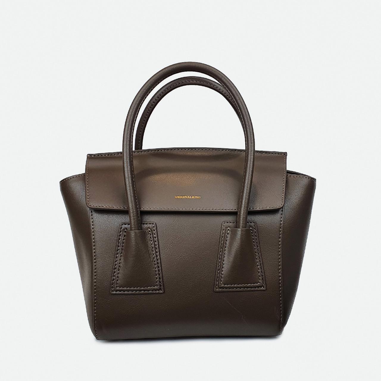 Стильна сумка коричнева середня шкіряна 6695