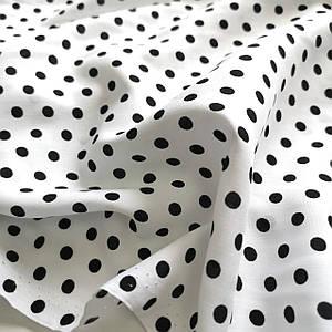 Ткань штапель принт черный горох на белом 5мм