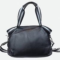 Стильная сумка кожаная черная большая уикендр 6008