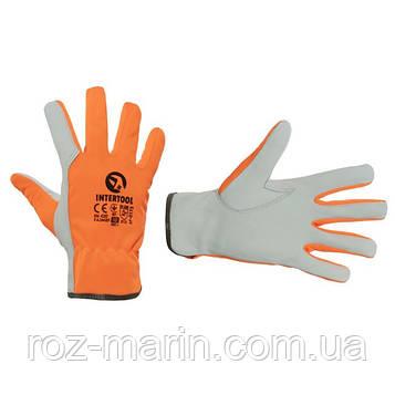 """Перчатка кожаная комбинированная из высококачественной козьей кожи и флуоресцентной оранжевой ткани 10"""""""