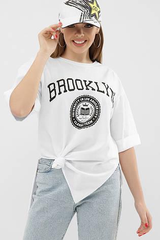Женская длинная белая футболка с разрезами по бокам, фото 2
