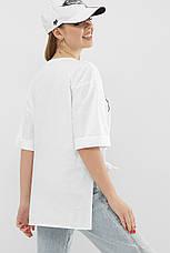 Женская длинная белая футболка с разрезами по бокам, фото 3