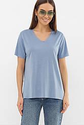 Жіноча однотонна футболка з вирізом колір джинс