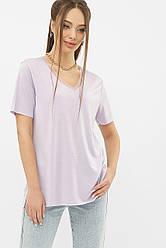 Жіноча лавандова футболка з вирізом