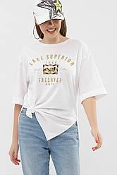 Біла довга жіноча футболка з розрізами з боків рукав до ліктя