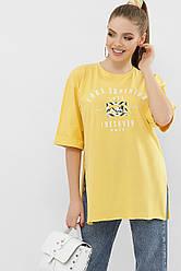 Жіноча довга жовта футболка з розрізами