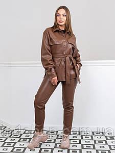 Жіночий шкіряний костюм з брюками і сорочкою (Панамера lzn)