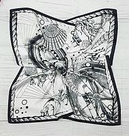 Шийна хустка Вояж 70х70 см білий/графіт