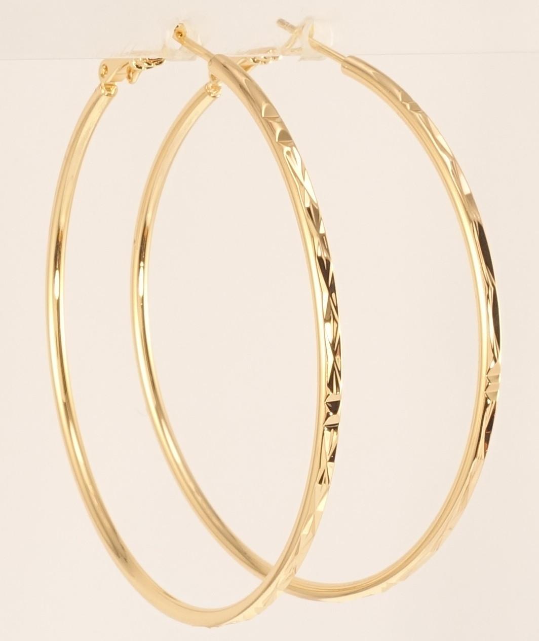 """Сережки M&L жовтий відтінок кільця (конго) """"Декоративний орнамент насічками"""" ø 5,5 см"""