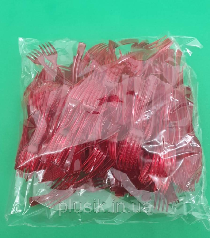 Вилка одноразова пластикова для фруктів Юніта Червона (250 шт)