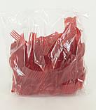 Вилка одноразова пластикова для фруктів Юніта Червона (250 шт), фото 3
