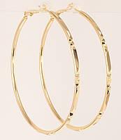 """Сережки M&L жовтий відтінок кільця (конго) """"Декоративний орнамент насічками"""" ø 5,5 см, фото 1"""