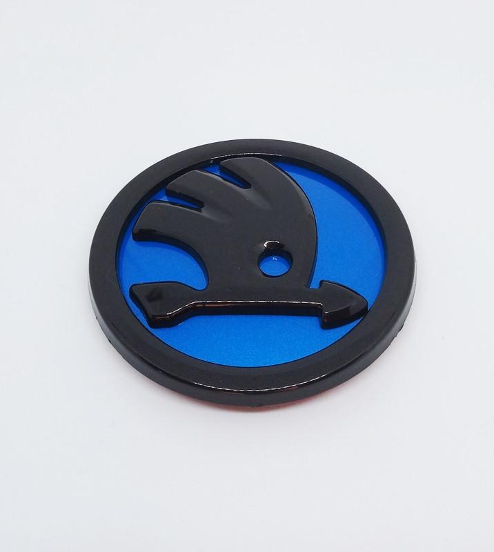 Эмблема Skoda синяя 80 мм.