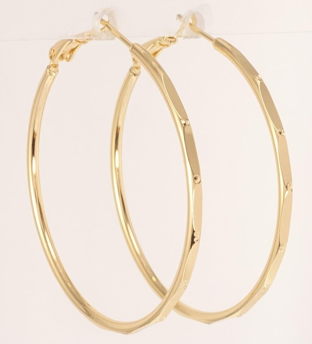 """Серьги M&L желтый оттенок кольца (конго) """"Декоративный орнамент с точками"""" ø 4,5см"""