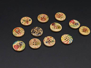 Гудзики кольорові дерев'яні з малюнком. Колір мікс.