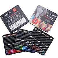 Акварельные цветные карандаши 72 цвета Premium в металлическом пенале