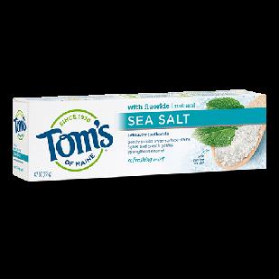 Tom's of Maine Sea Salt натуральная зубная паста с морской солью, фтором , вкус мята 133 гр