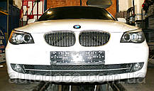 Декоративно-защитная сетка радиатора BMW 5 (E60) фальшрадиаторная решетка (ноздри), бампер