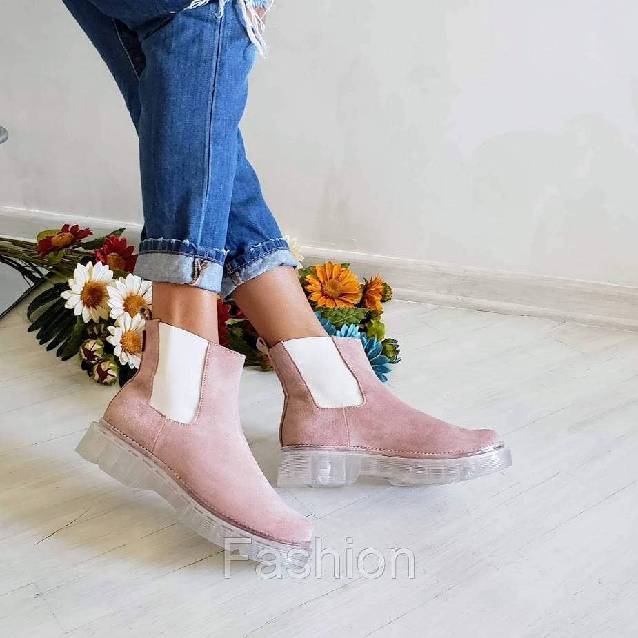 Пудрові замшеві черевики жіночі