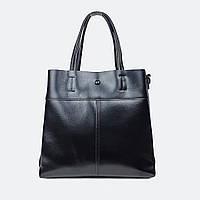 Жіноча чорна сумка з натуральної шкіри середня повсякденна, фото 1