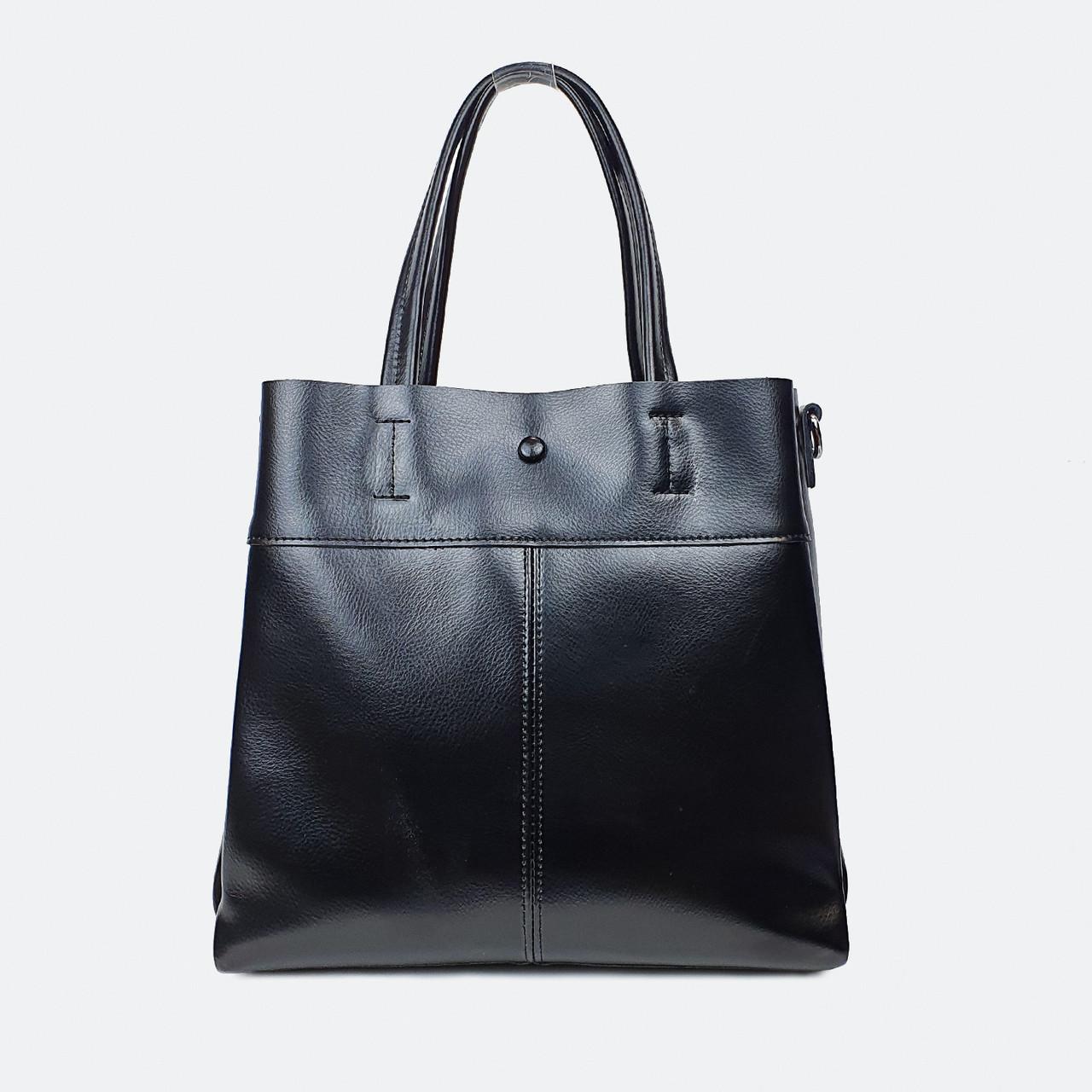 Жіноча чорна сумка з натуральної шкіри середня повсякденна