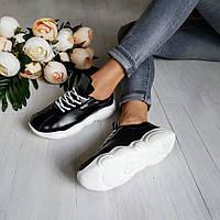 Черные кожаные кроссовки TED CASUAL