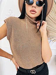 Женский свитер-безрукавка под горло (в расцветках)
