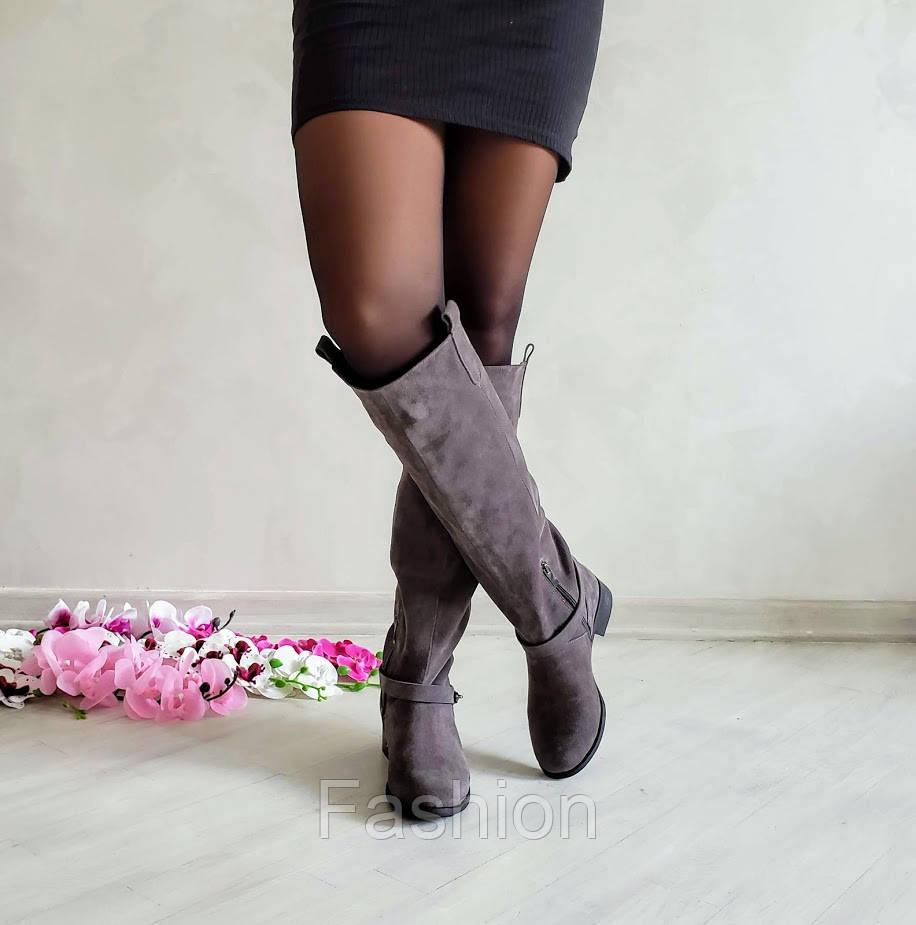 Сірі замшеві чоботи жіночі