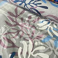 Хлопковая ткань с листьями и полосами на сером, ширина 220 см, фото 1