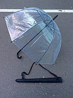 """Прозрачный зонт """"Стекляный купол"""" с чёрной ручкой в чехле"""