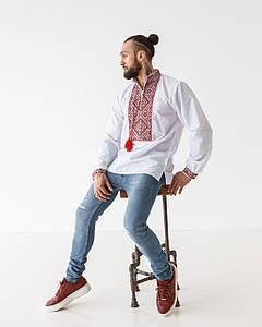 Мужская сорочка Остап с красным орнаментом