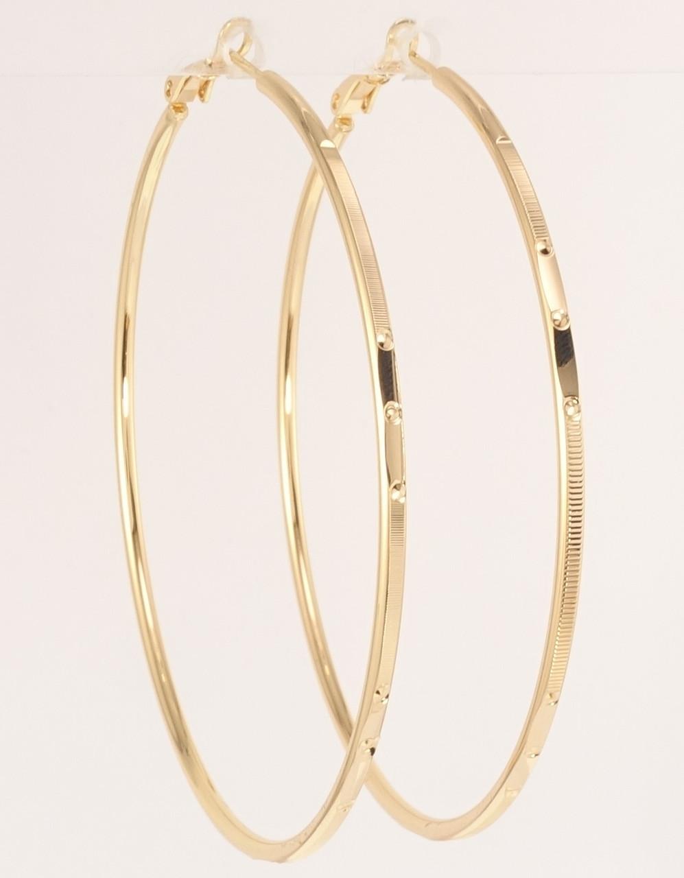 """Сережки M&L жовтий відтінок кільця (конго) """"Декоративний орнамент"""" ø 6,5 см"""
