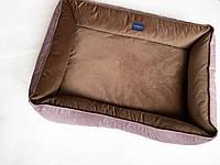 Двухсторонний лежак для больших собак размер 70x100 кофейно-лиловый