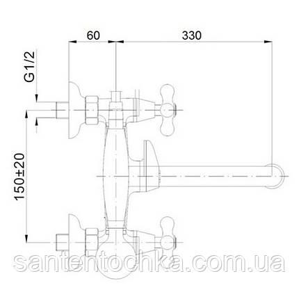 Змішувач для ванни Lidz (CRM)-30 21 141 00, фото 2