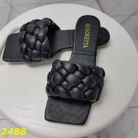 Шлепанцы женские шлепки на низком ходу черные плетеные с квадратным носком в стиле Bottega