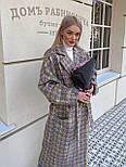 Пальто гусяча лапка прямого крою в стилі oversive жіноча з поясом, фото 2