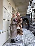 Пальто гусиная лапка прямого кроя в стиле oversive с поясом женское, фото 3