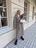 Пальто гусиная лапка прямого кроя в стиле oversive с поясом женское, фото 6